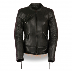 Milwaukee Leather – Women's Black & Purple Racer Jacket with Phoenix Studding & Embroidery