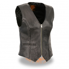 Milwaukee Leather – Women's Lightweight Zipper Front Braided Vest