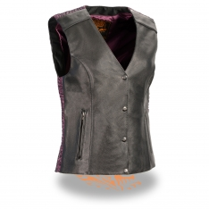 Milwaukee Leather – Women's Snap Front Vest w/ Phoenix Studding & Embroidery
